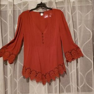 3/4 length sleeve rust tunic